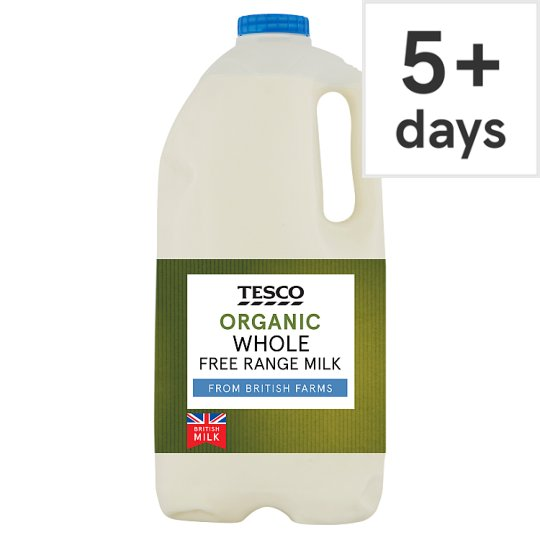 Tesco Organic British Whole Milk 2.272L/4 Pints