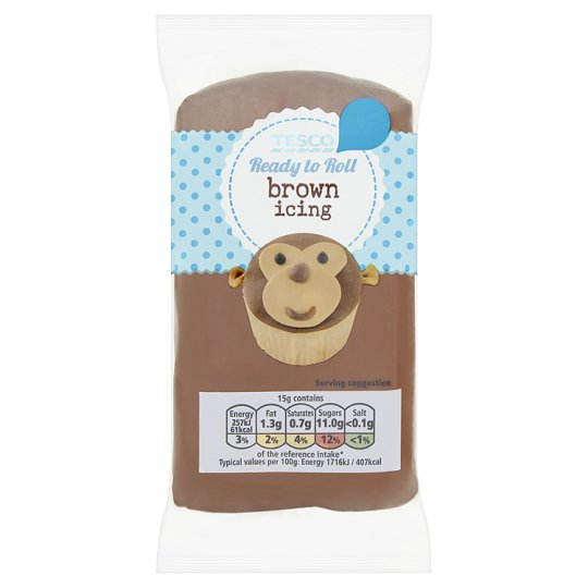 Tesco Ready To Roll Icing Brown 250G