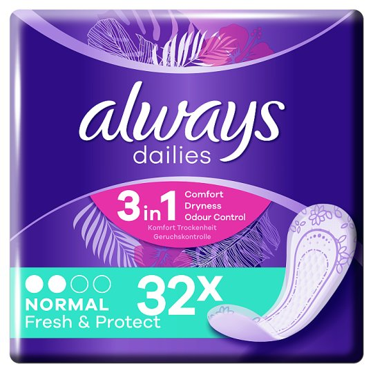 image 1 of Always Dailies Fresh And Protect Normal Panty Liners 32 Pack
