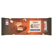 Tesco Nutty Nougat Caramel Bars 6 X 40G