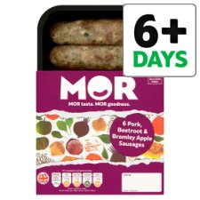 Mor 6 Pork, Beetroot And Apple Sausages 400G