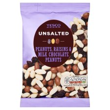 Tesco Unsalted Raisin And Chocolate Peanuts 350 G