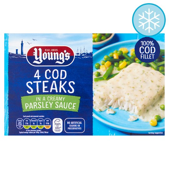 Youngs 4 Cod Steaks In Parsley Sauce 560G