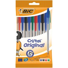 Bic Cristal 10 Pack Ball Pens Asstd Black Blue Red