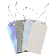 Tesco Silver Glitter And Foil Tags 4 Pack