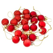Tesco Red Mini Baubles 20 Pack