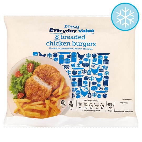 Tesco Everyday Value 8 Breaded Chicken Burgers 456G