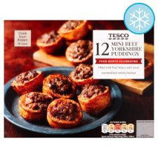 Tesco 12 Mini Beef Yorkshire Puddings 120G