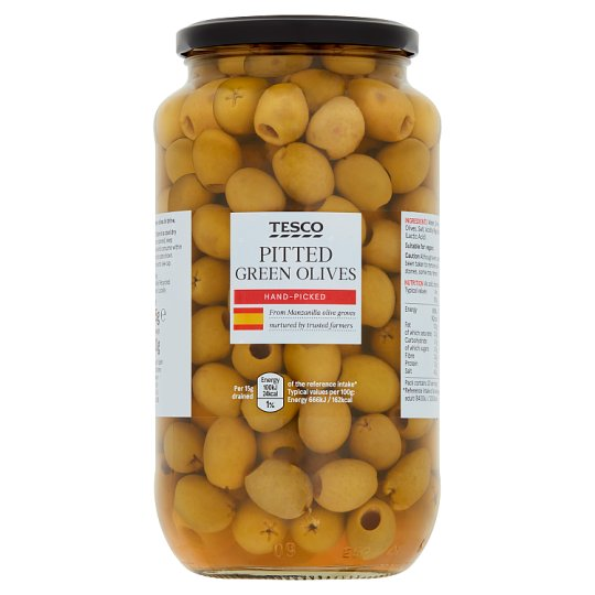 Tesco Pitted Green Olives In Brine 935G