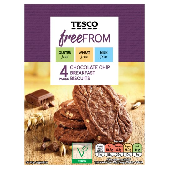 Tesco Free From Breakfast Biscuits Chocolate Chip 225G