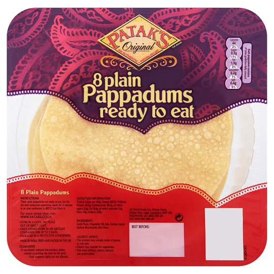 Pataks Plain Ready To Eat Pappadums 80G