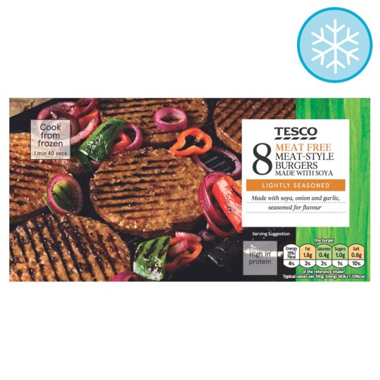 Tesco Meat Free 8 Burgers 454G
