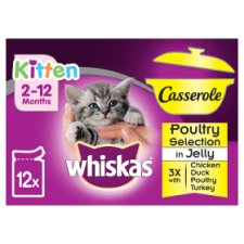 Whiskas Kitten 12 Pack Casserole Poultry Selection Jelly 1020G