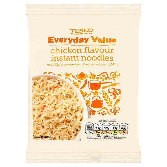 Tesco Everyday Value Chicken Flavour Instant Noodles 65G