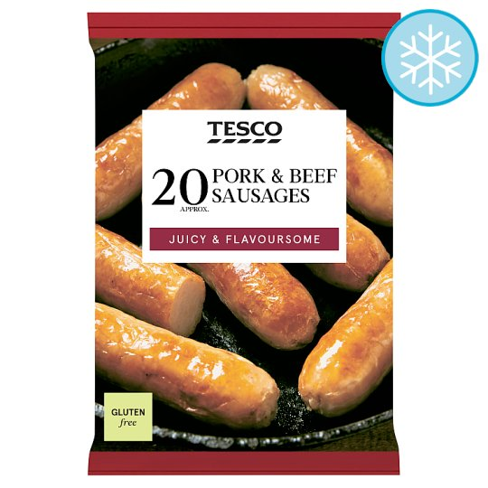 Tesco 20 Thick Pork And Beef Sausages 900G