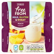 Tesco Free From Peach Yogurt Alternative 4 X100g
