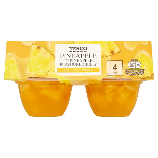 Tesco Pineapple Jelly And Pineapple Pieces 4X120g