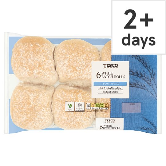 Tesco White Batch Rolls 6 Pack