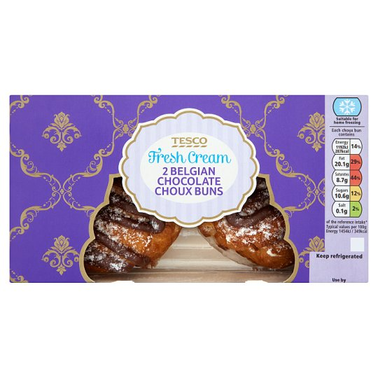 Tesco 2 Belgian Chocolate Choux Buns