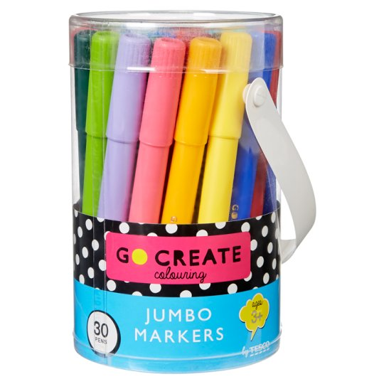 image 1 of Tesco Go Create Jumbo Markers 30 Pack