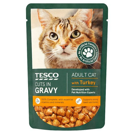 Tesco Standard Cuts In Gravy Turkey Cat Food Pouch 100G