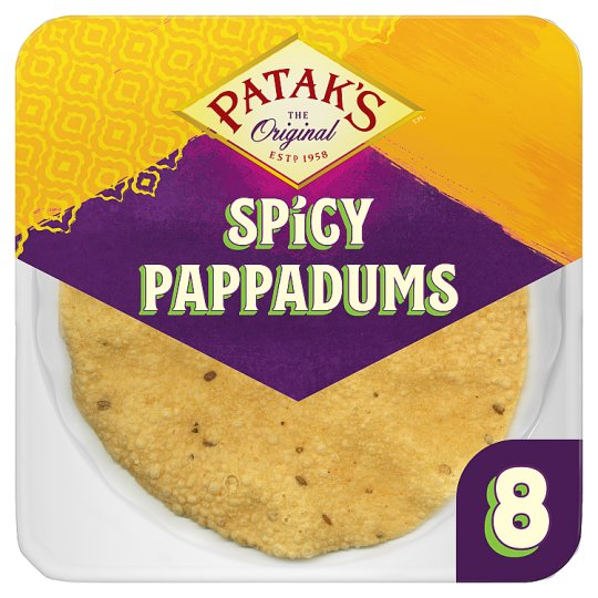 Pataks Spiced Ready To Eat Pappadums 8 Pack