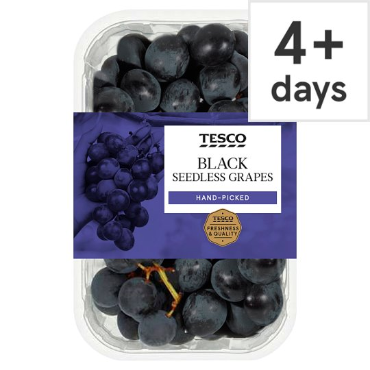 Tesco Black Seedless Grapes 500G