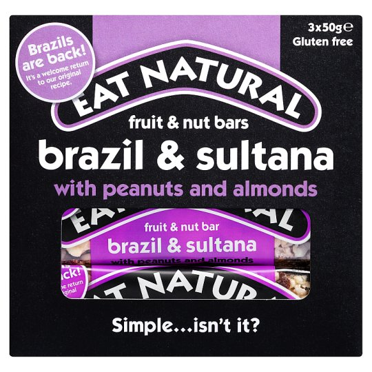 Eat Natural Brazil Sultana Almond Bars3x50g