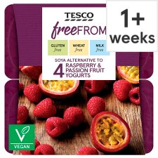 Tesco Free From Raspberry And Passion Yogurt Alternative 4 X100g