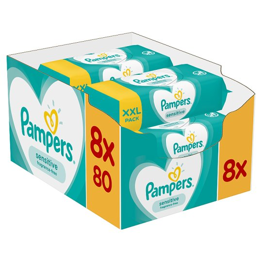 image 1 of Pampers Sensitive Baby Wipes 8X80 Pack