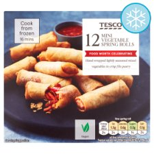 Tesco Frozen 12 Mini Vegetable Spring Rolls 216G