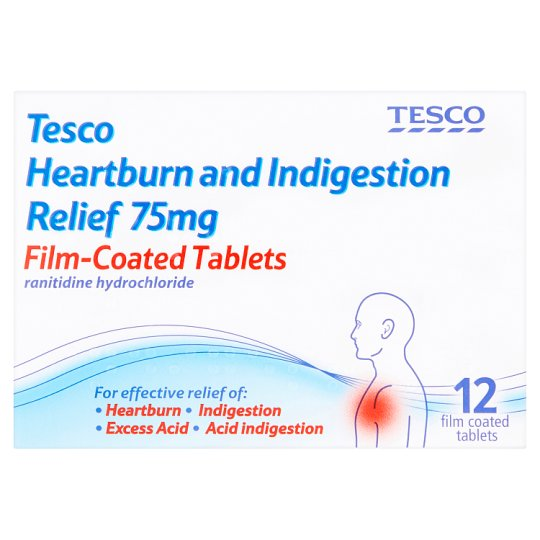 Tesco Ranitidine 75Mg Indigestion Tablets X12