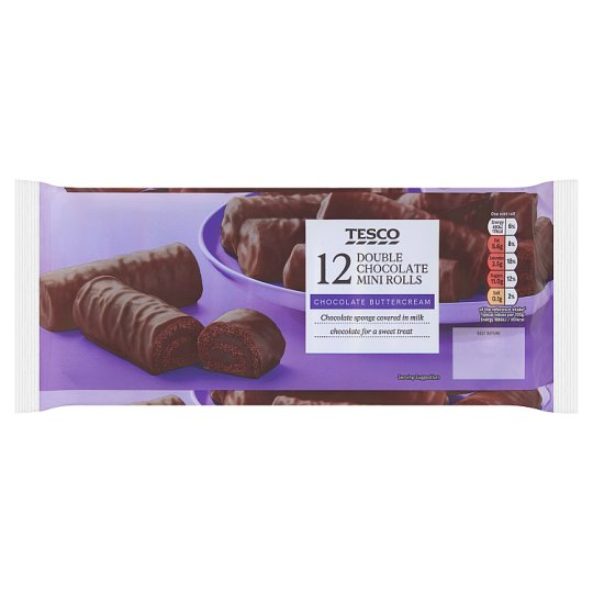 Tesco Double Chocolate Mini Rolls 12 Pack