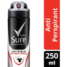 Sure Men Invisible Plus Antibacterial Antiperspirant Deodorant 250Ml
