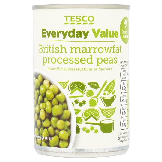 Tesco Everyday Value Marrow Fat Processed Peas 300G