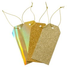 Tesco Gold Glitter And Foil Gift Tags 4 Pack