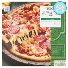 Tesco Stonebaked Thin Bbq Meat Feast Pizza 340G