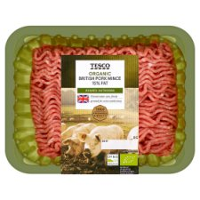 Tesco Organic Pork Mince 15% Fat 555G