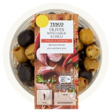 Tesco Mixed Olives With Garlic And Chilli 220G