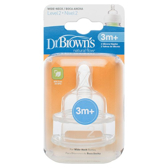 Dr Browns Wide Neck Silicone Teats 3+ Mths X2
