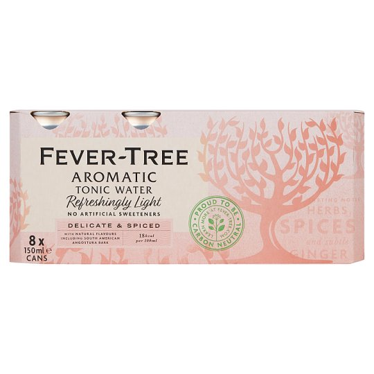 Fever Tree Light Aromatic Tonic Cans 8X150ml