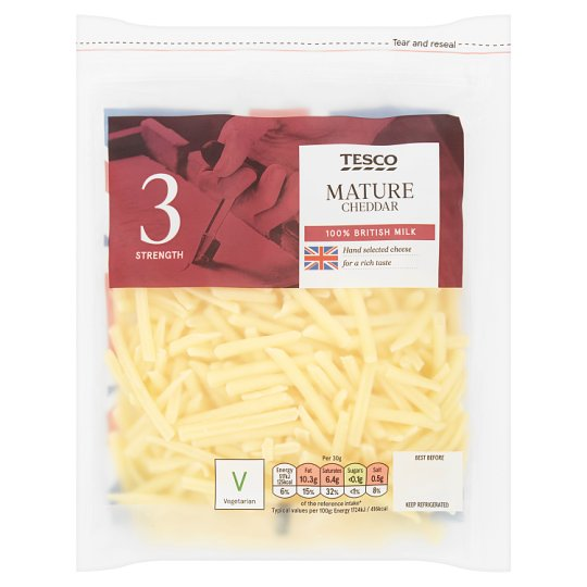 Tesco Grated British Mature Cheddar 150G