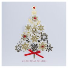 Tesco Luxury Gold Snowflake Tree Cards 6 Pack
