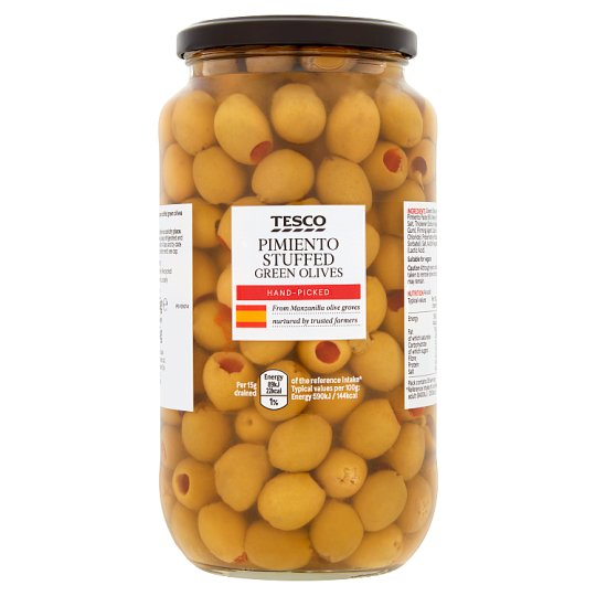 Tesco Pimiento Stuffed Olives In Brine 935G