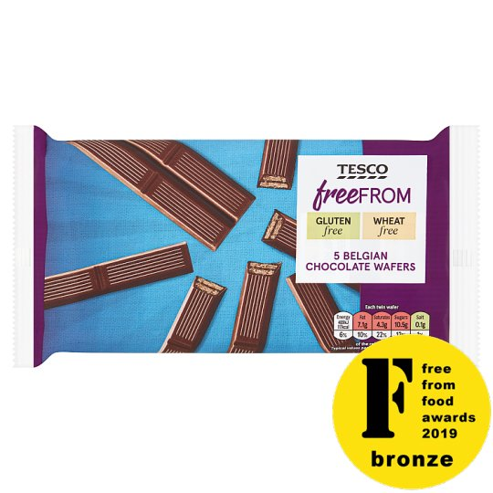 Tesco Free From Belgian Chocolate Wafers 107G