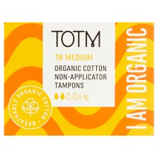 Totm Organic Cotton Non Appliator Tampons Regular 18