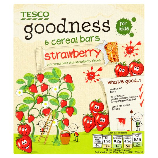 Tesco Goodness Cereal Bar Strawberry 6X21g