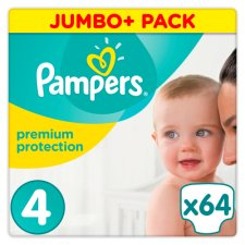 Pampers Premium Protection Size 4 Jumbo+ Box 64 Nappies