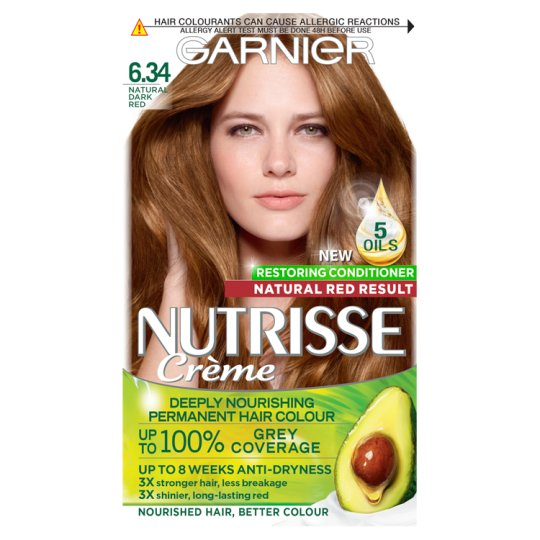 image 1 of Garnier Nutrisse 6.34 Dark Natural Red Permanent Hair Dye