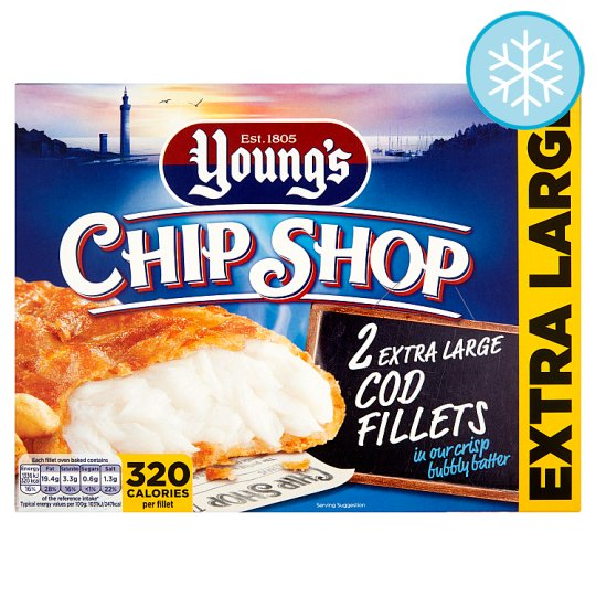 Youngs Chip Shop 2 Extra Large Cod Fillets 320G